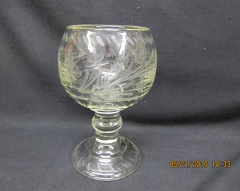 Etched Glass Goblet