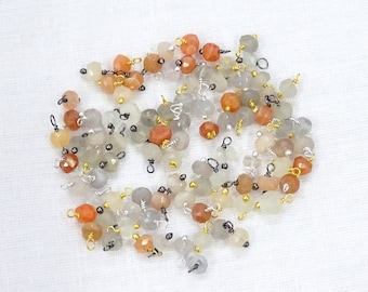 BIG Sale 45% Off 90 Pcs Lot Natural MULTI MOONSTONE 3.50mm Mix Plated Loose Beads Wire Wrapped Link Beads.