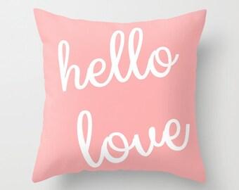 Hello Love Throw Pillow Cover Blush White Modern Home Decor Typography Pillow Cover Cushion Cover Blush Decor