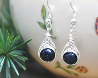 Blue Goldstone Wire Wrapped Drop Earrings (Free shipping in Canada!)