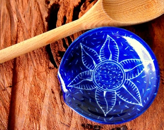 Spoon rest royal blue with carved flower and seed decoration -  chef gift, cooking utensil