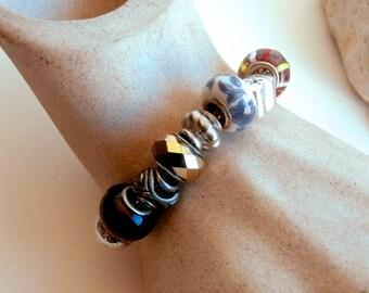 SALE ITEMS: Beaded Bracelet - Upcycled - Large Hole Beads - Colorful - Crystal Beads