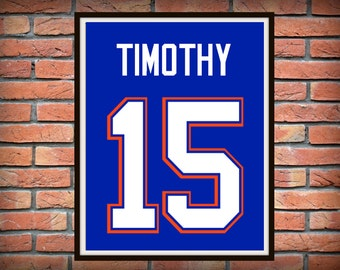 Florida Gators Print Personalized Jersey- Florida print , UF Gators poster,Florida Gators gift, football, Boys gift, gift for him, UF, Swamp