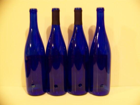 Drilled Beautiful Blue Wine Bottles