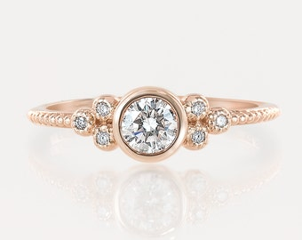 14k 18k rose gold engagement ring, conflict free diamond, 0.30~0.35ct F SI 3EX GIA certified diamond ring, unique wedding ring, ado-r101