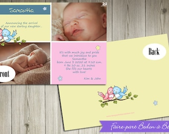 Personalized Photo Birth Announcement - Birds - Digital printable file