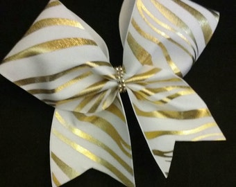 Zebra print Cheer Bow with Bling accents