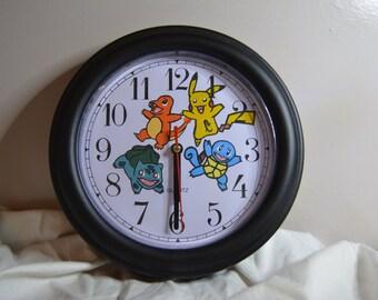 Handpainted Pokemon Starters Clock