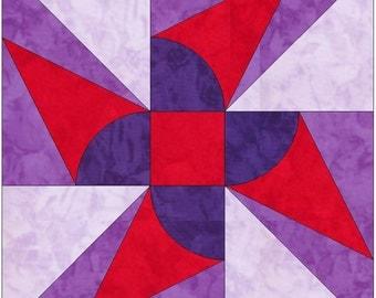 Windmill Variation Paper Template Quilting Block Pattern PDF