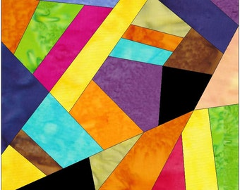 Complex Crazy Patch 9 Paper Foundation Piece Quilting Block Pattern PDF