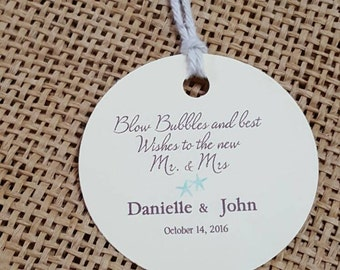"Personalized Favor Tags 2"", Wedding tags, Thank You tags, Favor tags, Gift tags, Bridal Shower Favor Tags, Bubble tag"