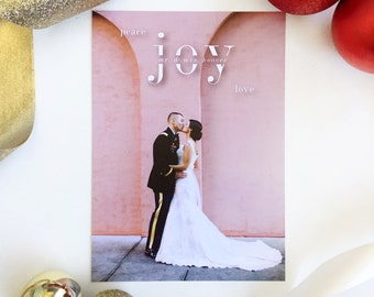 Just Married Photo Holiday Card, Married Christmas Card, Wedding Photo Holiday Card, Christmas card, Just Married, Newlywed Christmas Card