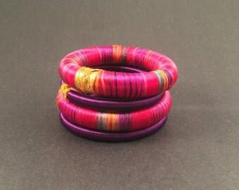 4 pink silk thread wrap bracelet bangle india
