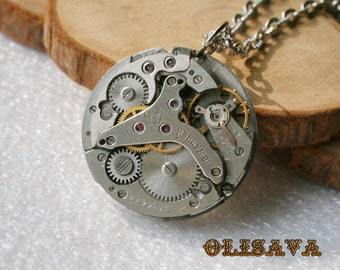 Men Watch movement  Steampunk   Pendant ,  Steampunk Jewelry , Steampunk Jewelry