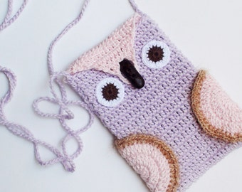 Crochet Lilac Owl Phone cozy, Lilac iPhone Cozy,Owl bag, gift for birthday, crochet phone case, iPhone Gadget Case