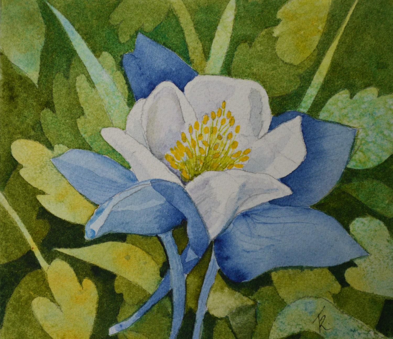 Watercolor Flower Painting: Columbine Watercolor Painting Original Fine Art Floral