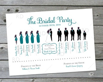 Bridal Party Silhouette Program - PRINTABLE / Wedding Party Silhouette Program / Wedding Program with Bridal Part Silhouettes / YOU PRINT