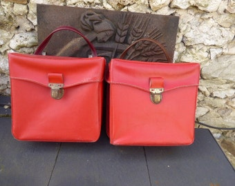 Two large bags bike vintage years 1960 to 1970 , plastic, red leatherette