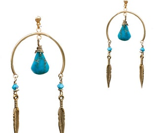 Earrings Nevada, decorated with turquoise - designer costume jewellery
