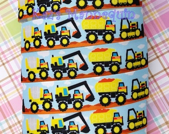 Baby Blue Grosgrain Ribbon with Trucks printed! (A69)