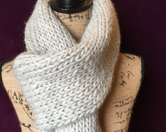 Hand Knitted long scarf - light grey scarf