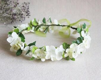 ivory flowers crown white Hydrangea flowers green leaves flower crown