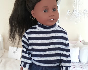 18 inch doll striped sweater