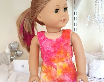 18 inch doll tie dye shorts and crop top