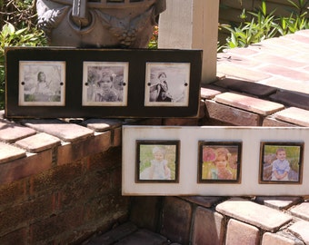 Distressed plank picture frame; black and white picture frames; three 4x4 photos; home decor; wall picture frames