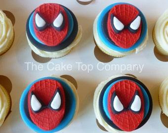Edible Fondant Spiderman Cupcake Toppers - Super hero cupcakes New design