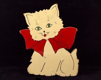 """Vintage 9"""" White Kitten with Red Bow Ribbon, 9"""" Tall Wooden Folk Art Cat Door Stop"""