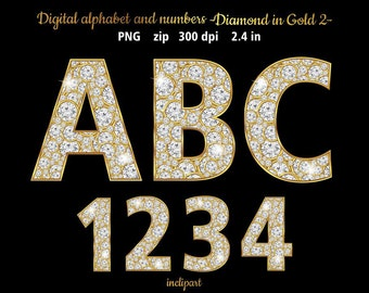 Diamond numbers letters symbols clipart. Digital alphabet diamonds in gold. Alphabet diamond and gold. Instant download in PNG format.