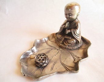 Buddha, Buddha Boy, Chinese Statues, Silver Copper Hand-carved Statue with Lotus with Marking Underneath - Collectible! FREE SHIPPING!