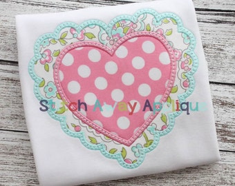 Scalloped Heart Valentines Machine Applique Design