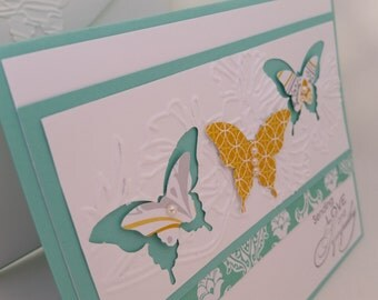 Sympathy with love, Butterflies, Turquoise, Golden yellow
