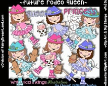 Future Rodeo Queen Digital Clip Art & Black and White Image Set, Commercial Use, Instant Download, Digital Stamp, Line Art, Cowgirl, Roping