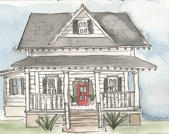 Custom House Portrait- Watercolor- Great House Warming Gift, Cards, Stationary, Etc