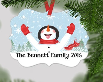 Personalized Family Christmas Ornament - Family Christmas Gift - Family christmas decoration - Snowman Scallop