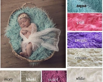 Mongolian Curly Faux Fur Baby Blanket Stuffer Mat for Photography Photo Prop