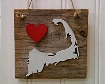 Cape Cod Decor, Cape Cod Ornament, Massachusetts State, Reclaimed Massachusetts, Wood Massachusetts, Love Massachusetts