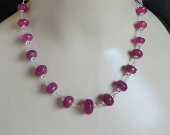 Pink Agati Agate Vintage Style Necklace