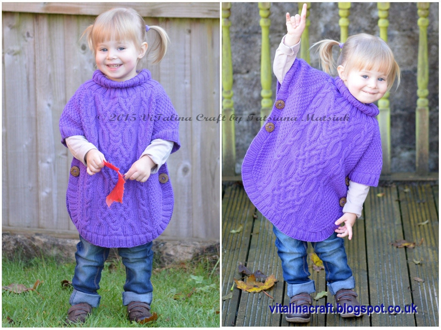 Knitting pattern cable fantasy poncho toddler and child zoom bankloansurffo Choice Image