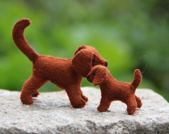 A felt mama dog with her pup READY TO SHIP