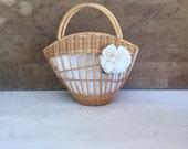 Vintage sisal bag, sisal small  bag, 70 bag, boho sisal bag, romantic