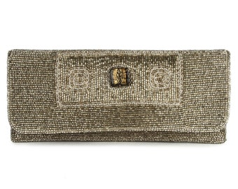 MyBatua Mia Silver Beaded Clutch Bag, Beautiful Silver Colour Trendy Clutch, Made for Special Occasions, Hand embroidered ACP-389