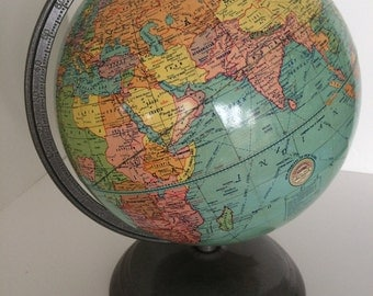 1950's Cardboard Globe with Metal Stand - New Peerless 10 inch Terrestrial - Weber Costello Co - Chicago Heights IL