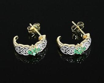 Emerald Earrings, Real Emeralds, Gold Vermeil Earrings, Half-Hoop Earrings, Sterling Silver,