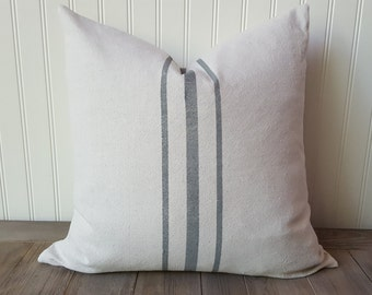 Canvas Stripe Pillow , Grain sack pillow cover , Feed Sack Pillow Cover  , Farmhouse Pillow , Wedding Decor , Choice of color