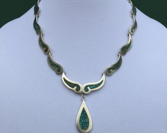 "This is a beautiful Sterling Silver Turquoise Tear Drop 18"" Long Necklace"