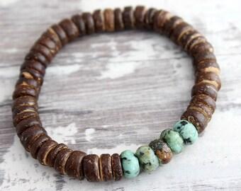 Mens Bracelet Boyfriend Gift Coconut Bead w/ African Jasper Bracelet Gift for Him Boyfriend Bracelet Mens Gift Mens Beaded Bracelet for Him